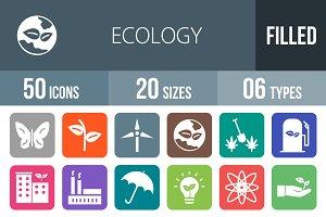 50 Ecology Flat Round Corner Icons