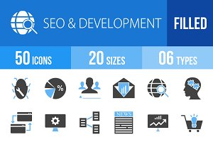 50 SEO&Development Blue&Black Icons