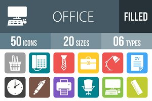 50 Office Flat Round Corner Icons