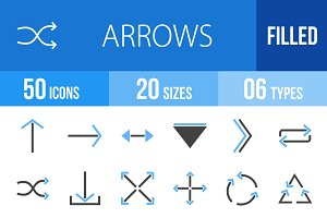 50 Arrows Blue & Black Icons