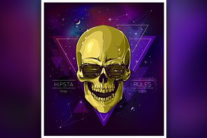 Hipster Skull Illustration