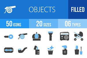 50 Objects Blue & Black Icons