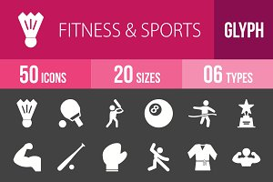 50 Fitness & Sports Glyph Inverted