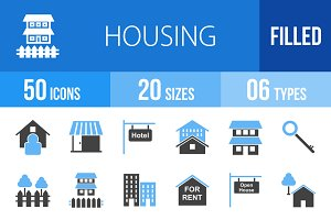 50 Housing Blue & Black Icons