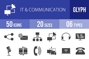 50 IT & Communication Glyph Icons