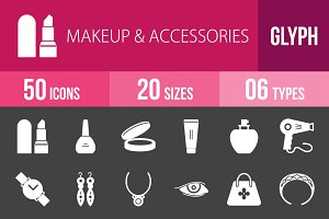 50 Makeup&Accessories Glyph Inverted