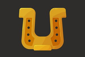 Stylized shiny golden horseshoe