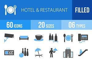 60 Hotel&Restaurant Blue&Black Icons