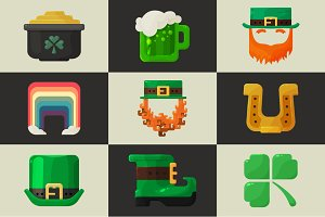 Set of shiny flat St. Patricks Day