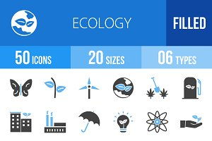 50 Ecology Blue & Black Icons
