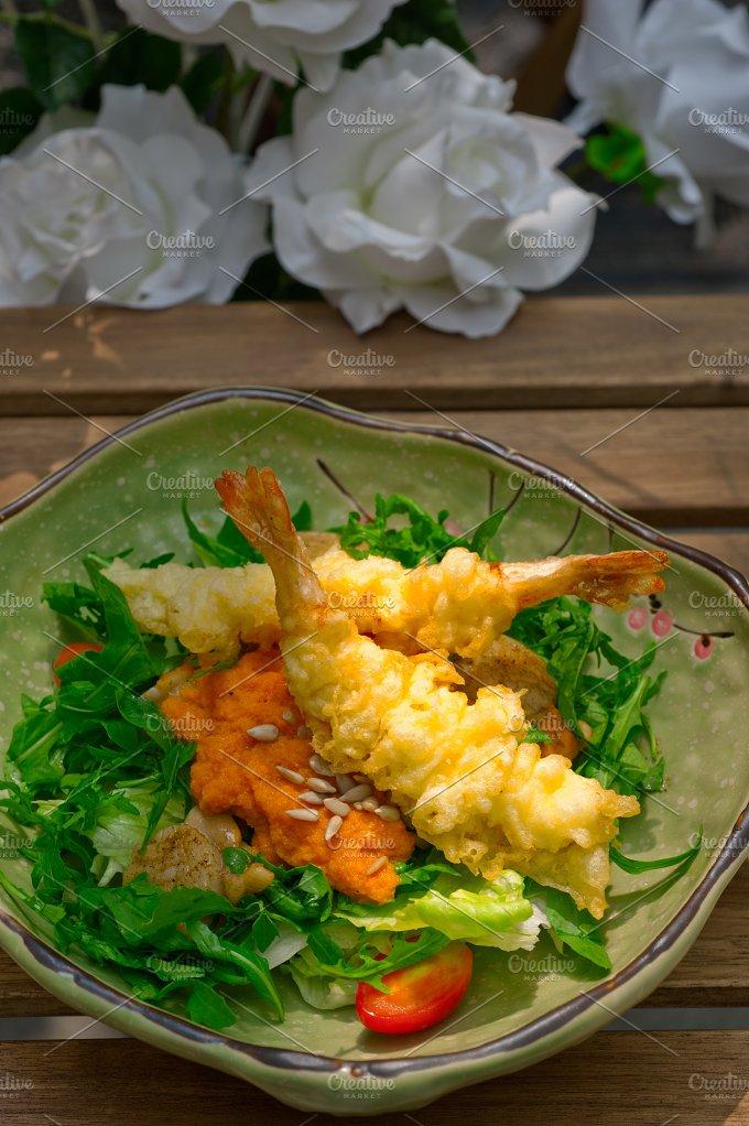 japanese shrimps tempura and salad 002.jpg - Food & Drink