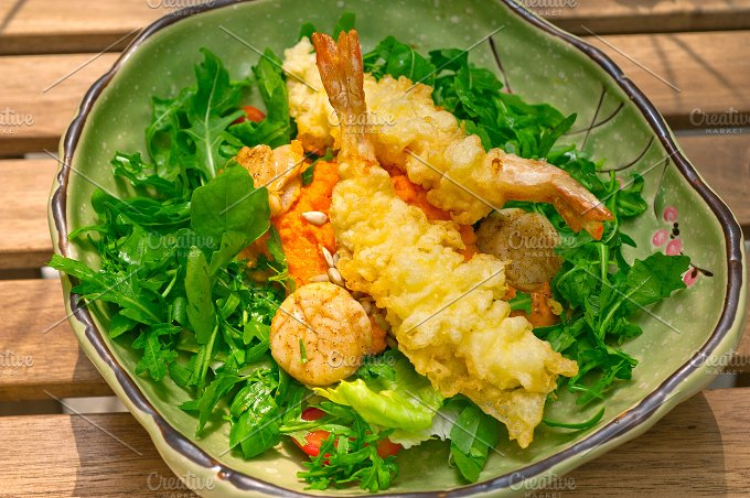 japanese shrimps tempura and salad 019.jpg - Food & Drink