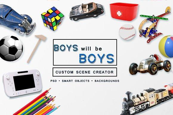 Download Boys Toys Custom Scene Creator Free Psd Mockup Templates
