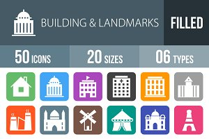 50 Buildings Flat Round Corner Icons