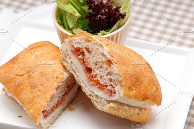 Parma ham cheese and tomato ciabatta sandwich 02.jpg - Food & Drink