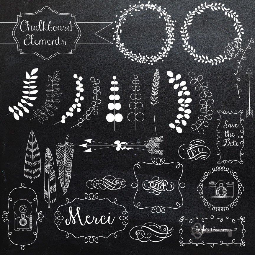 chalkboard elements and vectors illustrations creative market