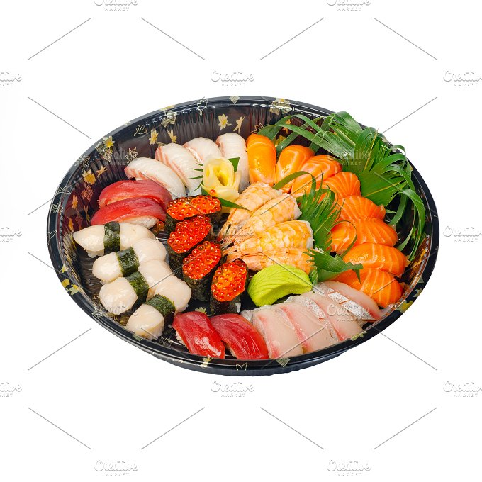 sushi take away plastic tray over white 002.jpg - Food & Drink