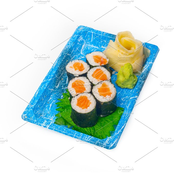 sushi take away plastic tray over white 038.jpg - Food & Drink