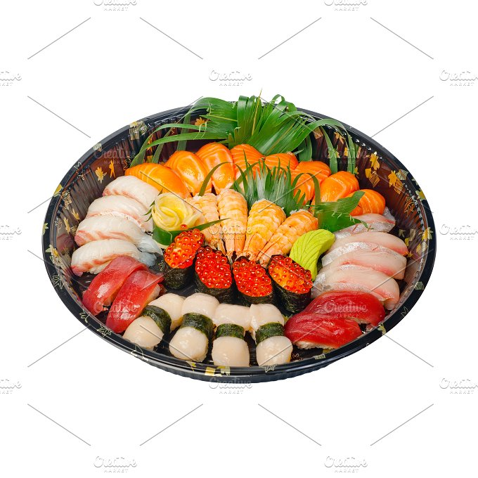 sushi take away plastic tray over white 001.jpg - Food & Drink
