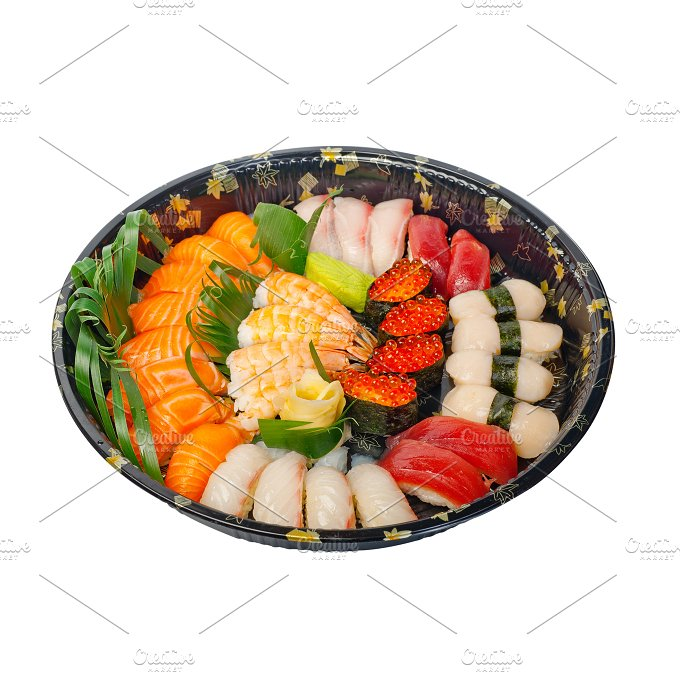 sushi take away plastic tray over white 003.jpg - Food & Drink
