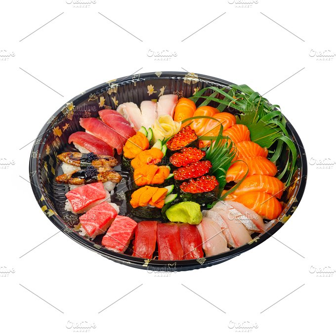 sushi take away plastic tray over white 009.jpg - Food & Drink