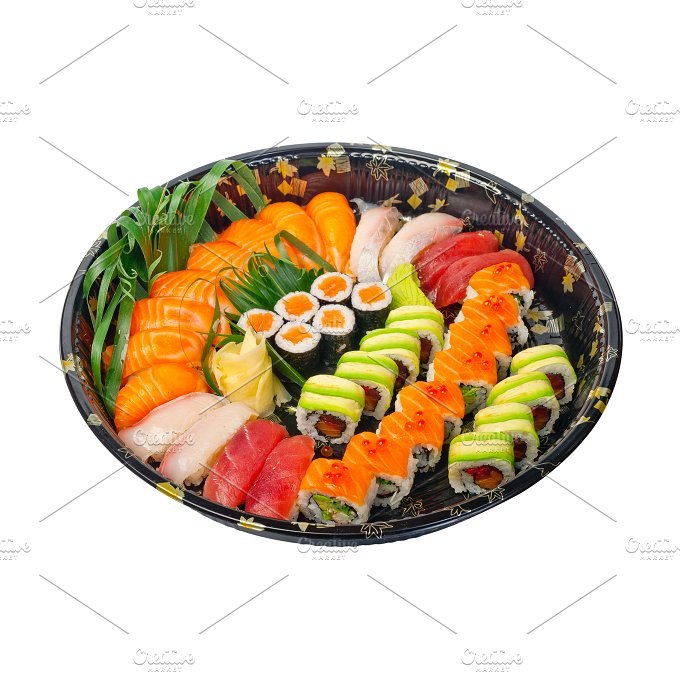 sushi take away plastic tray over white 010.jpg - Food & Drink