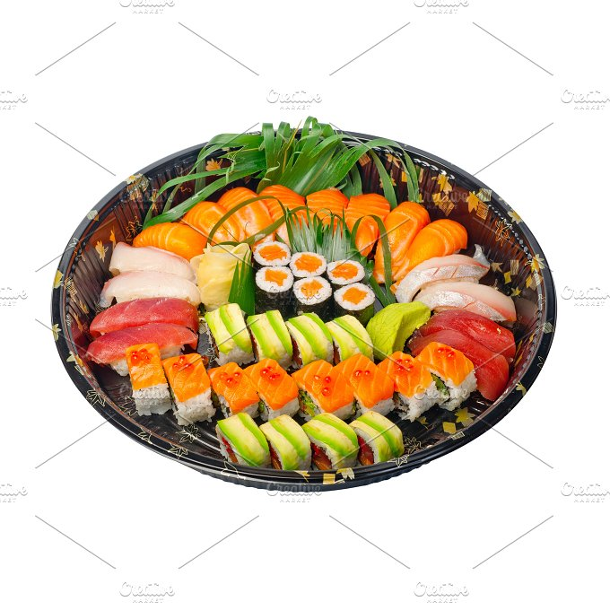 sushi take away plastic tray over white 011.jpg - Food & Drink