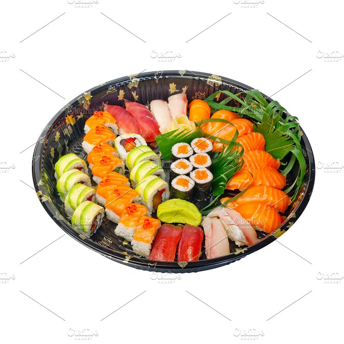 sushi take away plastic tray over white 012.jpg - Food & Drink