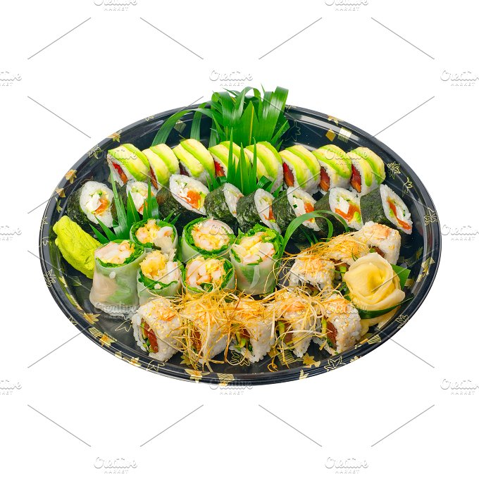 sushi take away plastic tray over white 014.jpg - Food & Drink