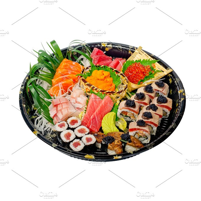 sushi take away plastic tray over white 019.jpg - Food & Drink