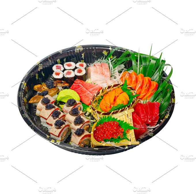 sushi take away plastic tray over white 021.jpg - Food & Drink