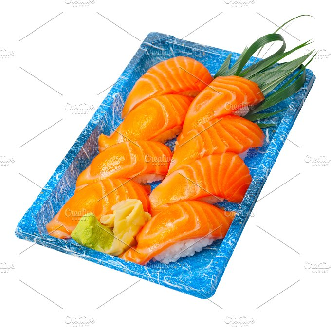 sushi take away plastic tray over white 023.jpg - Food & Drink