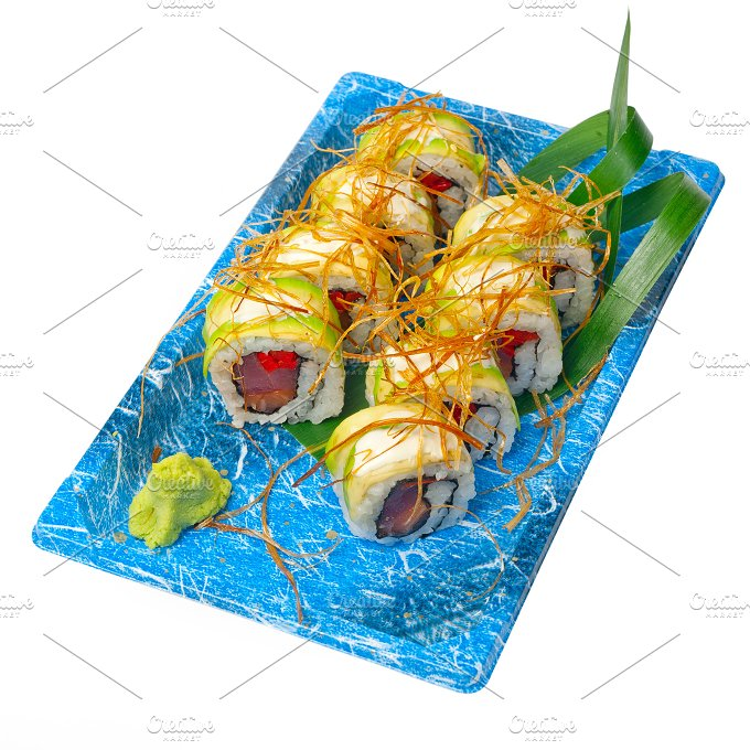 sushi take away plastic tray over white 028.jpg - Food & Drink