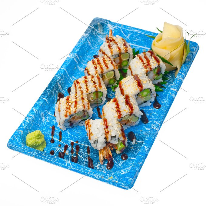 sushi take away plastic tray over white 029.jpg - Food & Drink