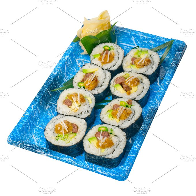 sushi take away plastic tray over white 031.jpg - Food & Drink