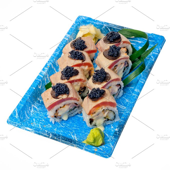 sushi take away plastic tray over white 030.jpg - Food & Drink