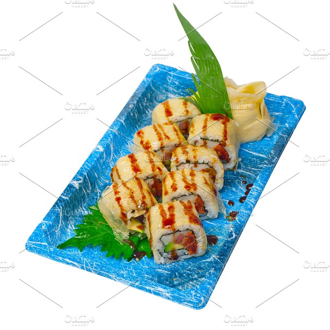 sushi take away plastic tray over white 032.jpg - Food & Drink