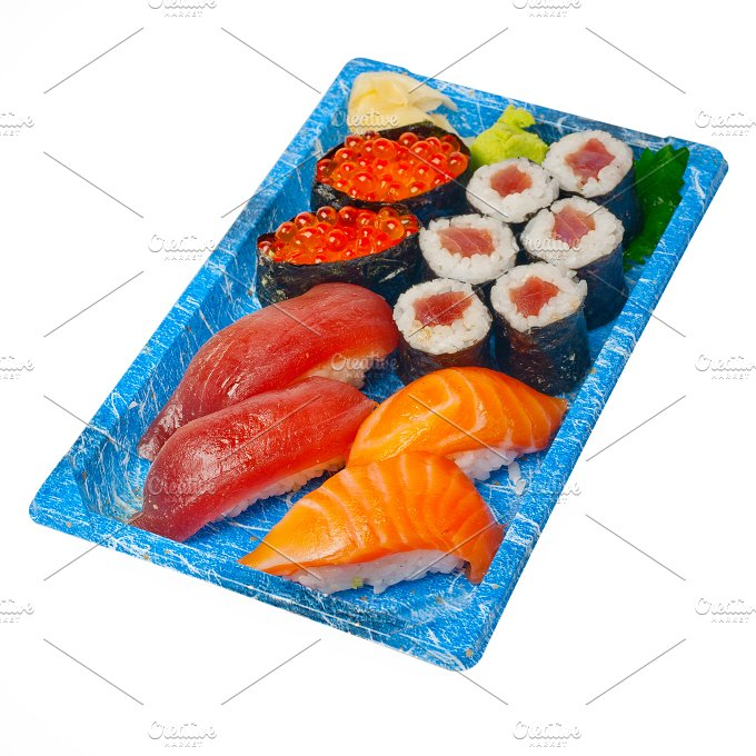 sushi take away plastic tray over white 035.jpg - Food & Drink