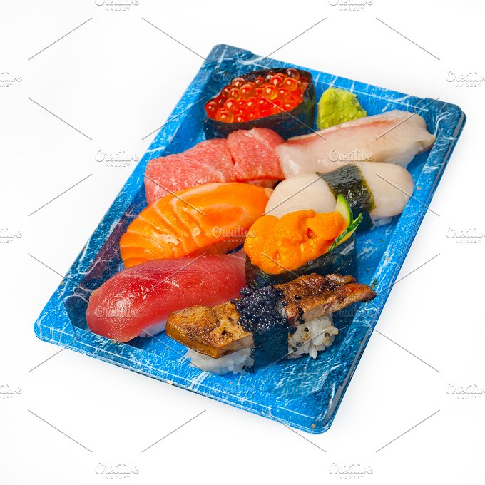 sushi take away plastic tray over white 037.jpg - Food & Drink