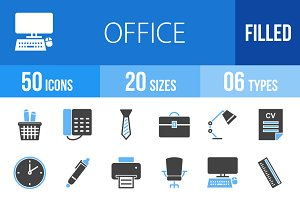 50 Office Blue & Black Icons