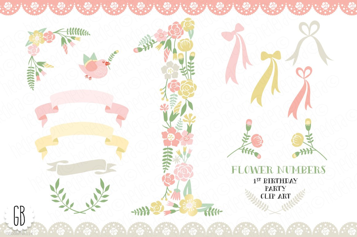 Floral Number 1st Birthday Party Illustrations Creative Market