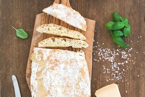 Baked ciabatta bread with garlic