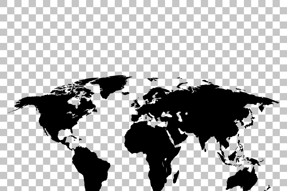 World map black colored silhouette