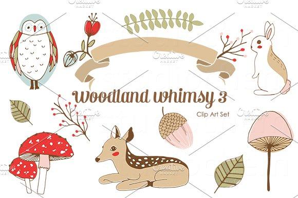 Woodland Whimsy 3 .png Clip Art Set - Illustrations