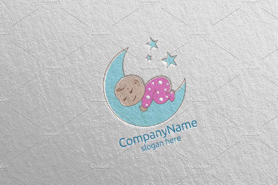 Cute Baby Sleep Logo Design 9