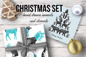 Christmas hand drawn animal set