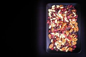 Pecan, cranberry, raisin, almond