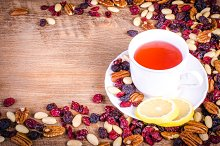 Dried fruits and cup of tea