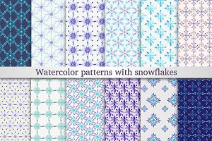 18Watercolor patterns with snowflake