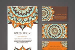 Round pattern banner, business cards
